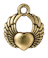 Metal Charms winged heart antique gold 15mm