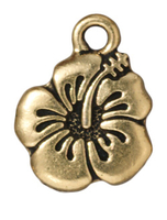 Metal Charms hibiscus antique gold 15mm