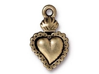 Metal Charms milagro heart antique brass 21 x 13mm
