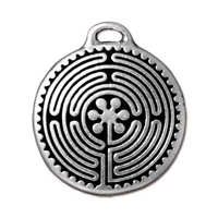 Metal Charms labyrinth pendant antique silver 27 x 23mm