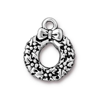 Metal Charms wreath antique silver 17 x 20mm
