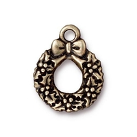 Image Metal Charms wreath antique brass 17 x 20mm