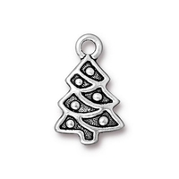 Metal Charms Christmas tree antique silver 12 x 20mm