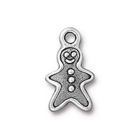 Metal Charms gingerbread man antique silver 11 x 19mm