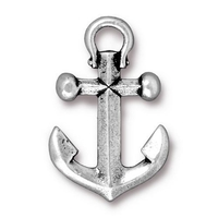 Metal Charms anchor pendant antique silver 27 x 17mm