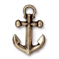 Metal Charms anchor pendant antique brass 27 x 17mm