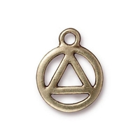 Metal Charms recovery symbol antique brass 15.5 x 19mm