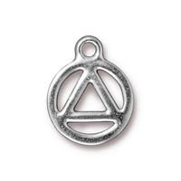Metal Charms recovery symbol silver 15.5 x 19mm