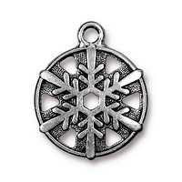 Image Metal Charms snowflake antique silver 20 x 24mm, 3/4