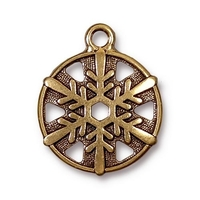 Metal Charms snowflake antique gold 20 x 24mm, 3/4