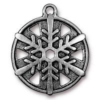 Metal Charms snowflake antique silver 24 x 28mm, 1