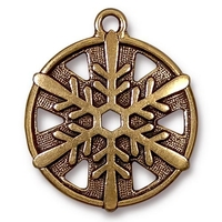 Metal Charms snowflake antique gold 24 x 28mm, 1