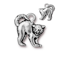 Metal Charms scary cat antique silver 18 x 16mm