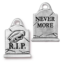 Metal Charms gravestone antique silver 20.4 x 14.7mm