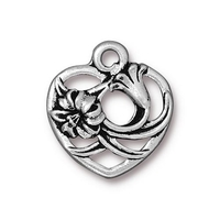 Metal Charms floral heart antique silver 18.2 x 19.6mm