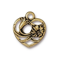 Metal Charms floral heart antique gold 18.2 x 19.6mm