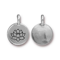 Metal Charms Lotus flower antique silver 11.6 x 16.6mm