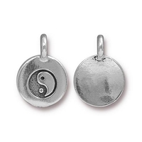 Metal Charms Yin Yang antique silver 11.6 x 16.6mm