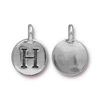 Metal Charms H antique silver 11.6 x 16.6mm