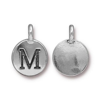 Metal Charms M antique silver 11.6 x 16.6mm