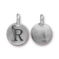 Metal Charms R antique silver 11.6 x 16.6mm