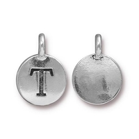 Metal Charms T antique silver 11.6 x 16.6mm