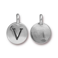Metal Charms V antique silver 11.6 x 16.6mm