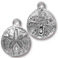 Metal Charms sand dollar antique silver 17 x 21mm