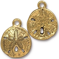Image Metal Charms sand dollar antique gold 17 x 21mm