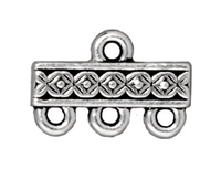 lead free pewter 15mm deco rose 3 to 1 link antique silver