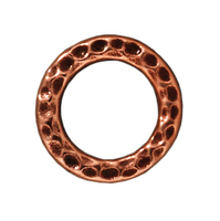 lead free pewter 13mm hammered circle link antique copper