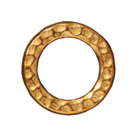lead free pewter 13mm hammered circle link gold finish
