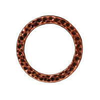 lead free pewter 19mm hammered circle link antique copper