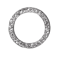 Image lead free pewter 19mm hammered circle link silver finish