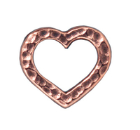 lead free pewter 14 x 12mm hammered heart link antique copper