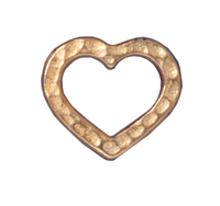 lead free pewter 14 x 12mm hammered heart link gold finish