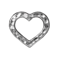 lead free pewter 14 x 12mm hammered heart link silver finish