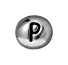 Metal Beads 7 x 6mm letter P silver lead free pewter