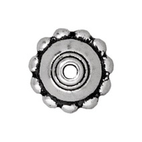 lead free pewter 8mm beaded bead cap antique silver