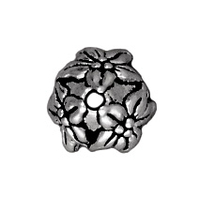 lead free pewter 7mm jasmine bead cap antique silver