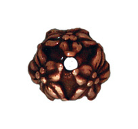 Image lead free pewter 7mm jasmine bead cap antique copper