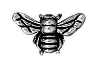 Image Metal Beads 10 x 16mm honeybee antique silver lead free pewter