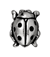 Metal Beads 8 x 10mm ladybug antique silver lead free pewter