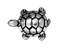Metal Beads 12 x 15mm turtle antique silver lead free pewter