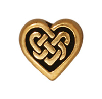 Metal Beads 9mm Celtic heart antique gold lead free pewter