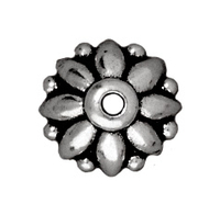 lead free pewter 8mm dharma bead cap antique silver