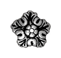 lead free pewter 10mm oak leaf bead cap antique silver