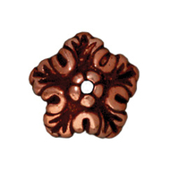 lead free pewter 10mm oak leaf bead cap antique copper