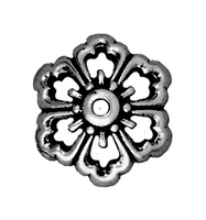 lead free pewter 12mm open poppy bead cap antique silver