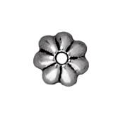 Image lead free pewter 5mm petal bead cap antique silver
